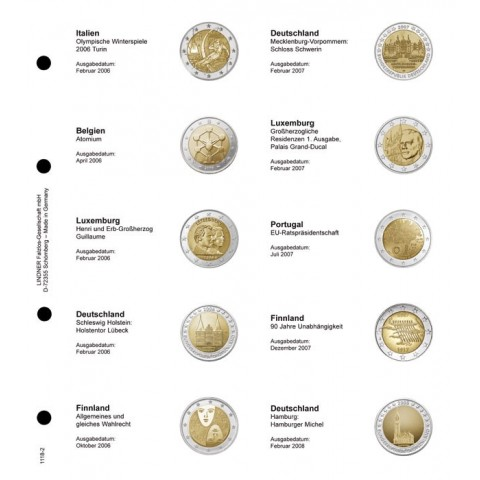 Lindner page for common 2 Euro coins - page 2 (Italy 2006 - Germany 2008)