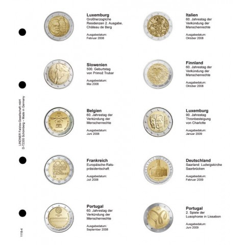 Lindner page for common 2 Euro coins - page 4. (Luxembourg 2008 - Portugal 2009)