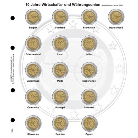 Lindner page for common 2 Euro coins - page 5. (EMU 2009)