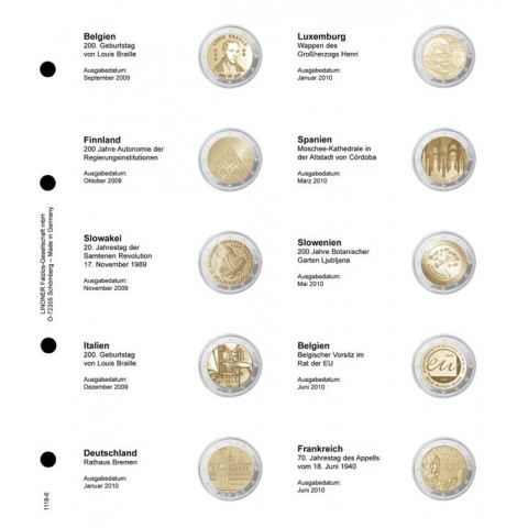 Lindner page for common 2 Euro coins - page 6. (Belgium 2009 - France 2010)