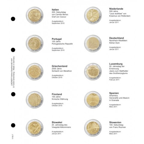Lindner page for common 2 Euro coins - page 7. (Italy 2010 - Slovenia 2011)
