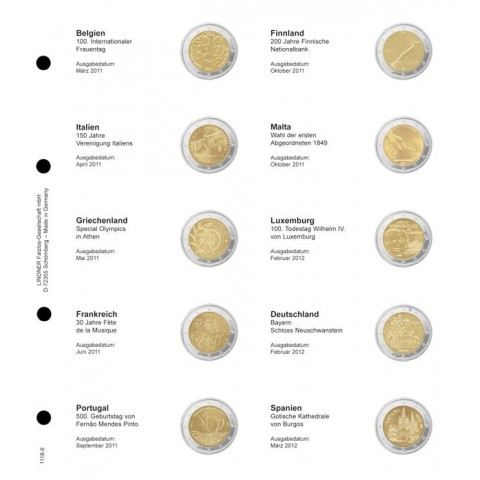 Lindner page for common 2 Euro coins - page 9. (Belgium 2011 - Spain 2012)