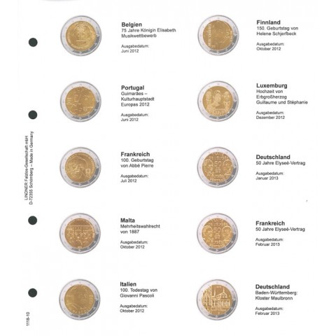 Lindner page for common 2 Euro coins - page 10. (Belgium 2012 - Germany 2013)