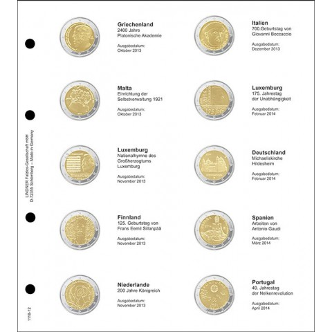 Lindner page for common 2 Euro coins - page 12. (Greece 2013 - Portugal 2014)
