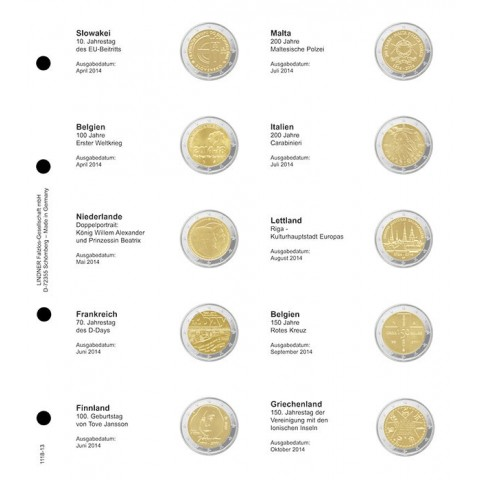 Lindner page for common 2 Euro coins - page 13. (Slovakia 2014 - Greece 2014)