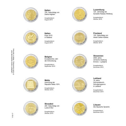 Lindner page for common 2 Euro coins - page 17. (Italy 2015 - Lithuania 2015)