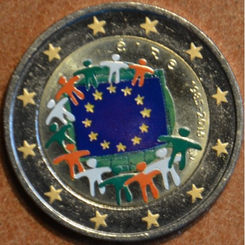 2 Euro Ireland 2015 - 30 years of European flag (colored UNC)