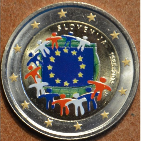 2 Euro Slovenia 2015 - 30 years of European flag (colored UNC)