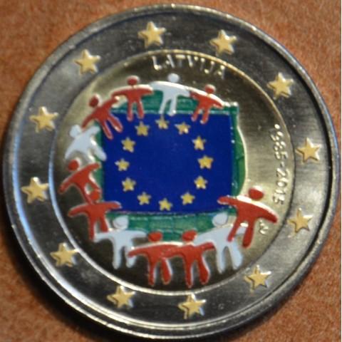2 Euro Latvia 2015 - 30 years of European flag (colored UNC)