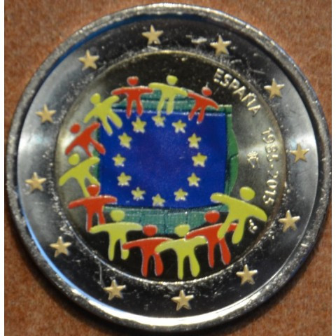 2 Euro Spain 2015 - 30 years of European flag (colored UNC)