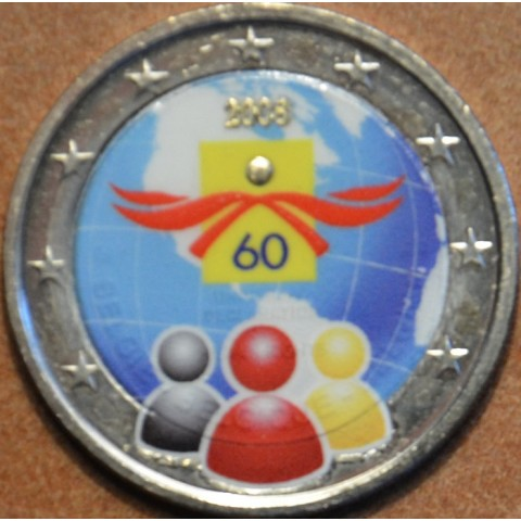 2 Euro Belgium 2008 - 60th anniversary of the Universal Declaration of Human Rights II. (colored UNC)