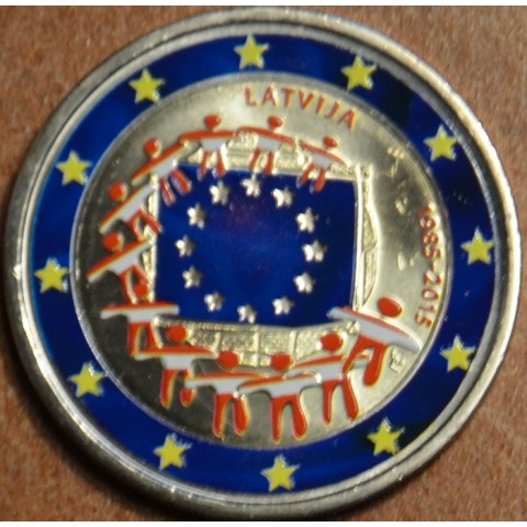 2 Euro Latvia 2015 - 30 years of European flag II. (colored UNC)
