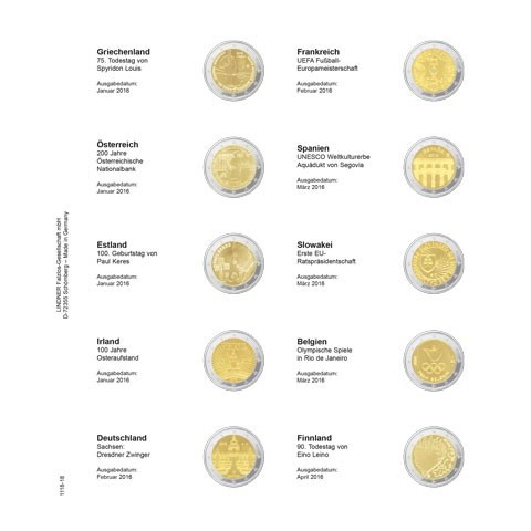 Lindner page for common 2 Euro coins - page 18. (Greece 2015 - Finland 2016)