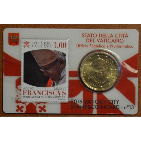 50 cent Vatican 2016 official coin card with stamp No. 13 (BU)