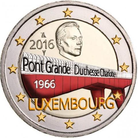 2 Euro Luxembourg 2016 - 50 Years of Grand Duchess Charlotte Bridge (colored UNC)
