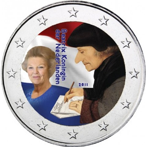 2 Euro Netherlands 2011 - The 500th anniversary of the world-famous book Laus Stultitiae by Erasmus II.  (colored UNC)
