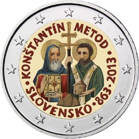 2 Euro Slovakia 2013 - 1150th Anniversary of Cyril and Metod IV.  (colored UNC)