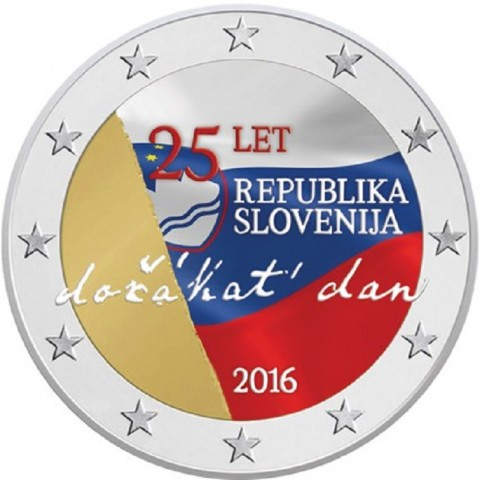 2 Euro Slovenia 2016 - The 25th anniversary of independence of Slovenia II. (colored UNC)