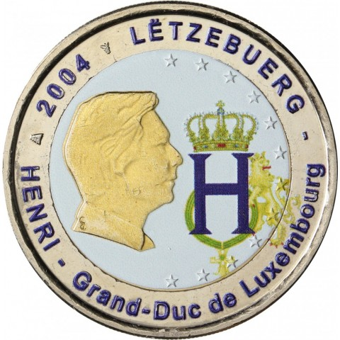 2 Euro Luxembourg 2004 - Effigy and monogram of Grand-Duke Henri II. (colored UNC)