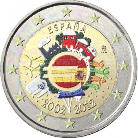 2 Euro Spain 2012 - Ten years of Euro II.  (colored UNC)