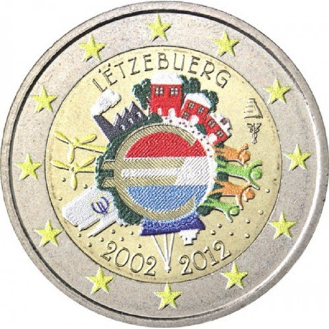 2 Euro Luxembourg 2012 - Ten years of Euro II. (colored UNC)