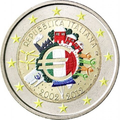2 Euro Italy 2012 - Ten years of Euro II. (colored UNC)