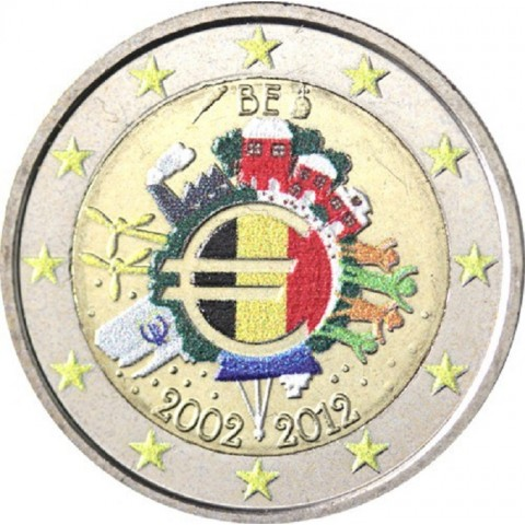 2 Euro Belgium 2012 - Ten years of Euro II.  (colored UNC)
