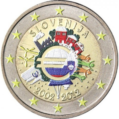 2 Euro Slovenia 2012 - Ten years of Euro II. (colored UNC)