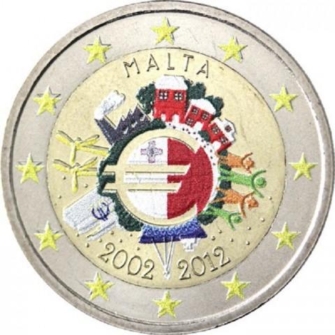 2 Euro Malta 2012 - Ten years of Euro II. (colored UNC)