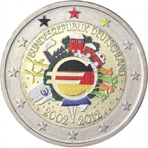 "2 Euro Germany ""J"" 2012 - Ten years of Euro II. (colored UNC)"