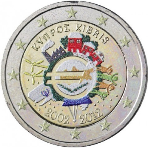 2 Euro Cyprus 2012 - Ten years of Euro II. (colored UNC)