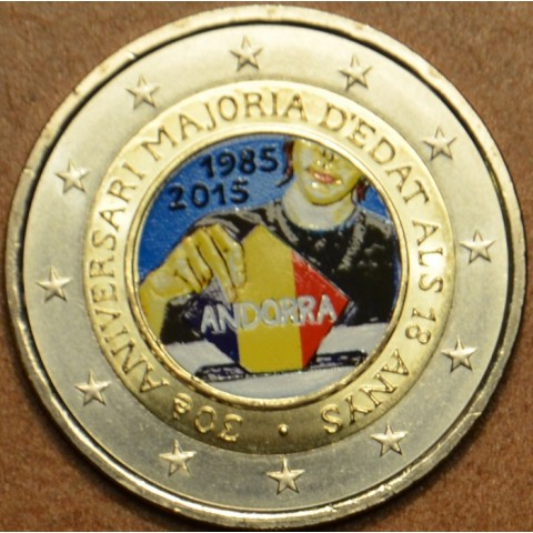 2 Euro Andorra 2015 - 30th anniversary of the Coming of Age and Political Rights (colored UNC)