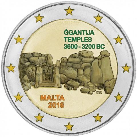 2 Euro Malta 2016 - Temples of Ggantija (colored UNC)