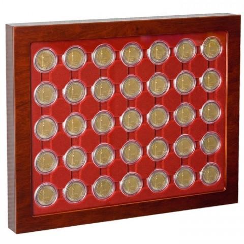 Wooden showcase Leuchtturm Louvre for 35 2 Euro coins