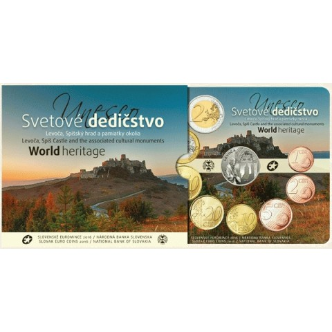 Set of 8 Slovak coins 2016 Levoča, castle of Spiš
