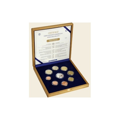 Set of 8 Slovak coins 2015 in wooden case (Proof)
