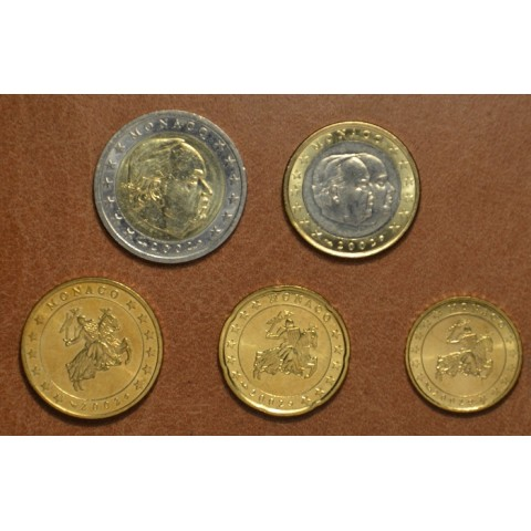 Set of 5 eurocoins Monaco 2002 (UNC)