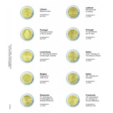 Lindner page for common 2 Euro coins - page 19. (Lithuania 2016- France 2016)