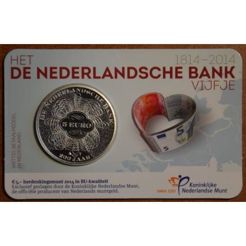 5 Euro Netherlands 2014 - 200 years of the bank (BU card)