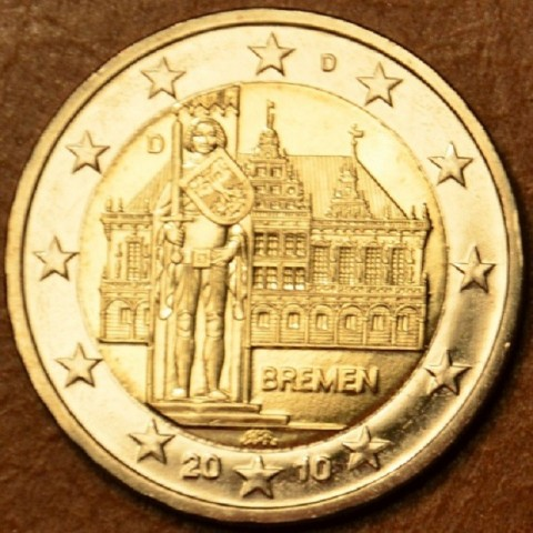 "2 Euro Germany ""D"" 2010 - Bremen: Town hall with sculpture of Roland  (UNC)"