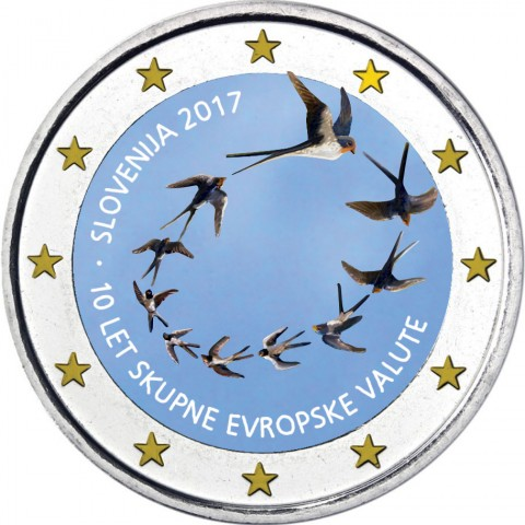 2 Euro Slovenia 2017 - 10 years of Euro (colored UNC)