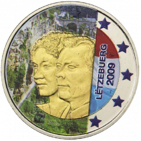2 Euro Luxembourg 2009 - 90th Anniversary of Grand Duchess Charlotte's Accession to the Throne II. (colored UNC)