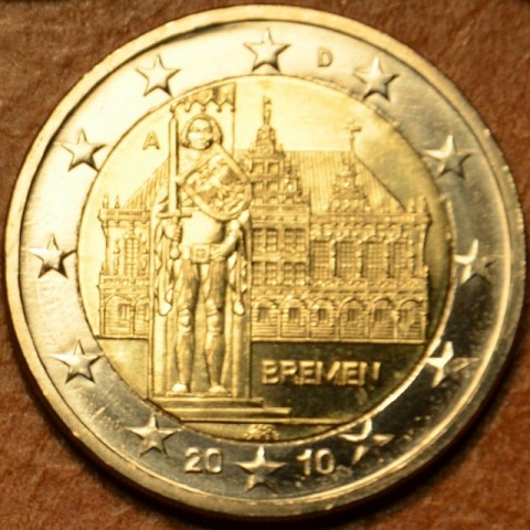 "2 Euro Germany ""A"" 2010 - Bremen: Town hall with sculpture of Roland  (UNC)"