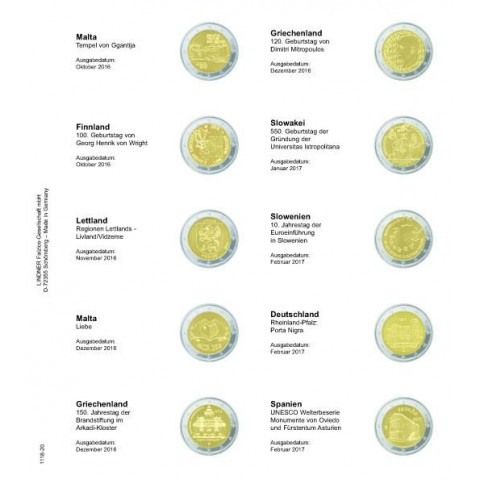 Lindner page for common 2 Euro coins - page 20. (Malta 2016- Spain 2017)