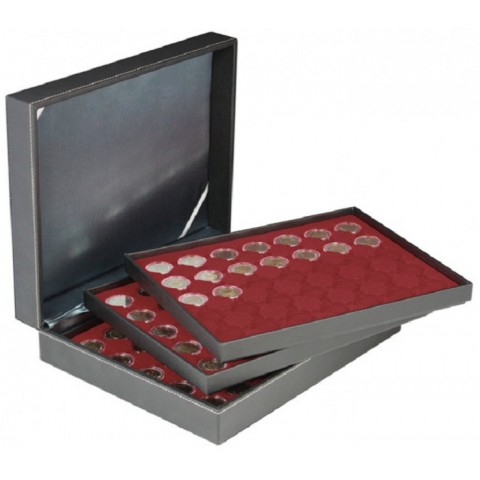 Lindner NERA XL red coin box for 3x35 2 Euro capsulas
