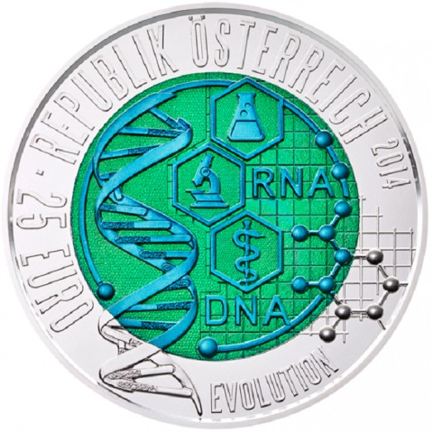 25 Euro Austria 2014 - silver niobium coin Evolution (UNC)