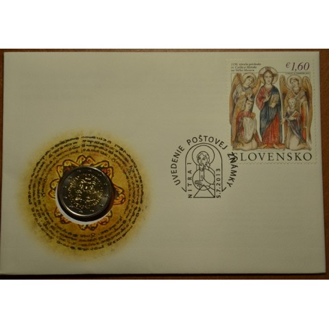 2 Euro Slovakia 2013 - 1150th Anniversary of Cyril and Metod (UNC with stamp)