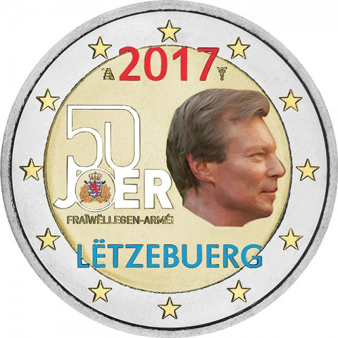 2 Euro Luxembourg 2017 - Military service (colored UNC)