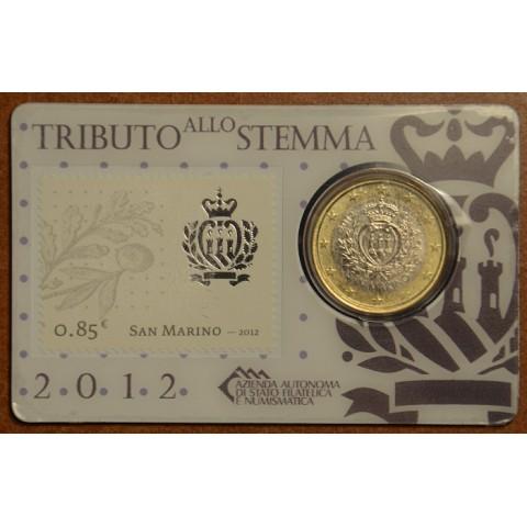 1 Euro San Marino 2012 (BU card with stamp)