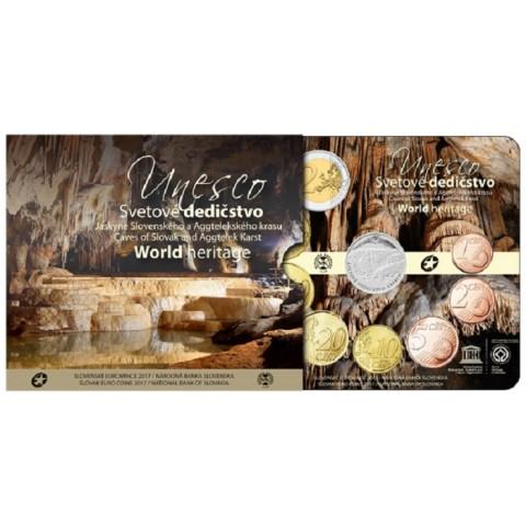 Set of 8 Slovak coins 2017 UNESCO: Caves of Slovak Karst (BU)